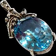 Vintage Sterling Silver Blue Topaz Pendant