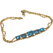 Vintage Estate 10 K Gold Blue Topaz Bracelet