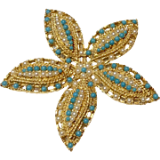 Vintage Estate Gold Tone Metal Faux Turquoise & Faux Pearl Brooch