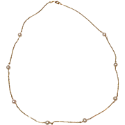 Vintage Estate 14 K Gold Cultured Pearl Necklace