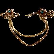 Vintage 12 K Gold Filled Rhinestone  Van Dell Chatelaine Pin