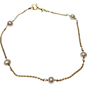 Vintage Estate 14 K Cultured Pearl Bracelet