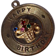 Vintage Estate Silver Vermeil Happy Birthday Disk Charm