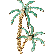 Vintage Estate Gold Tone Metal  Enameled Palm Tree Brooch