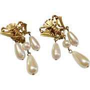 Vintage Matte Gold Faux Pearl Dangle Clip Earrings