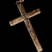 Large Vintage 12 K Gold Filled Etched Cross