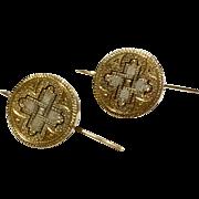 Vintage 14 K Gold Trace Enameled Cuff Button Earrings