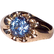 Vintage 14 K Gold Montana Sapphire 1.78 Carat Ring