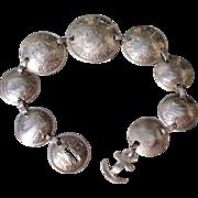 Vintage  WWII 1940'S Australian Sterling Silver Coin Bracelet