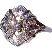 1930'S Art Deco 18 Karat White Gold Diamond Dinner Ring