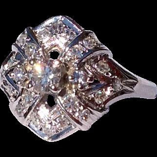 1930'S Art Deco 18 Karat White Gold Diamond Dinner Ring