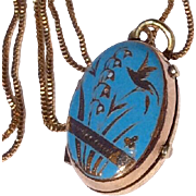 Victorian Gold Shell Blue Enameled Double Photo Locket
