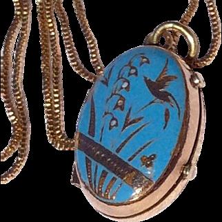 Victorian Gold Shell Blue Enameled Double Photo Locket