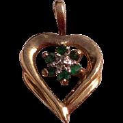 Vintage 1980'S 14 K Gold Emerald Heart Charm Pendant
