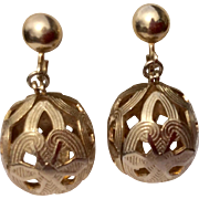 Vintage Large Statement Gold Tone Screw Back Earrings