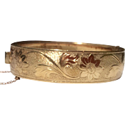 Vintage Gold Tone Metal  Hinged Bangle Bracelet