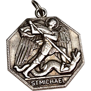 Vintage Sterling Silver Saint Michael Catholic Medal
