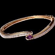 Vintage 10 K Gold Amethyst Bangle Bracelet