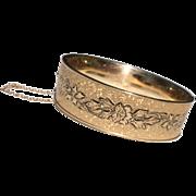 Vintage Black Tracery Enamel 10 K Gold Filled Hinged Bangle Bracelet