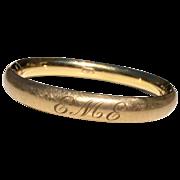 Vintage 12 K Gold Filled Satin Finish Hinged Bangle Bracelet