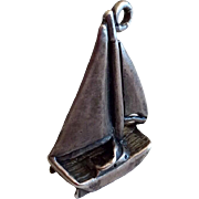Vintage Sterling Silver Three Dimensional Sailboat Charm