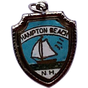 Vintage Sterling Silver Enamel Hamilton Beach New Hampshire Charm