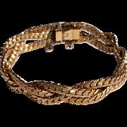 """Vintage 12 K Gold Filled  7"""" Twisted Bracelet"""
