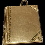 Vintage  1938 Gold Filled Large Rectangular Machine Etched Photo Locket