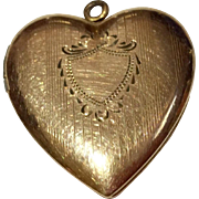 Vintage 14 K  Gold Filled Machine Etched Heart Photo Locket