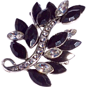 Vintage Jet Black And Clear Rhinestone Brooch