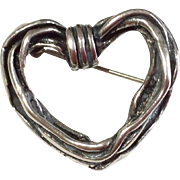 Vintage  Mexico Sterling Silver Twisted Heart Brooch