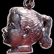 Wonderful Vintage Spencer Sterling Silver Girl Profile Charm
