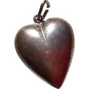 Vintage Sterling Silver Brushed Puffy Heart Pendant