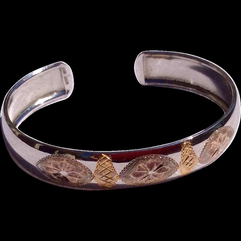 vintage sterling silver vermeil cuff bracelet from