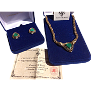 Vintage Camrose & Kross Jackie Kennedy Malachite Necklace & Earrings