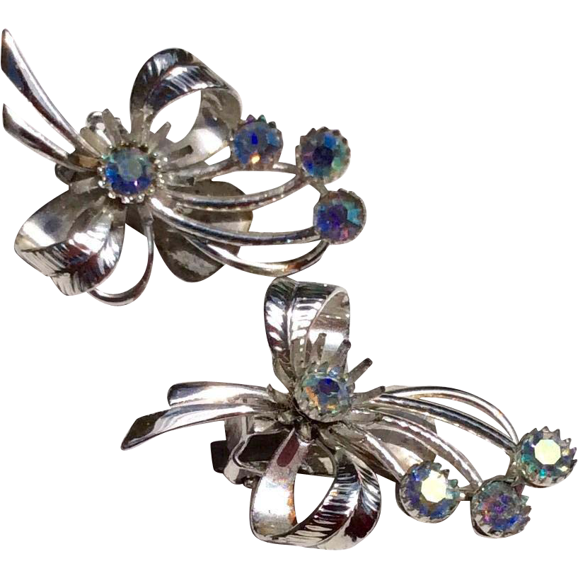 vintage silver tone metal a b rhinestone clip earrings