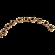 Vintage Gold-Tone Metal Garnet Rhinestone & Faux Pearl Art Costume Slide Bracelet