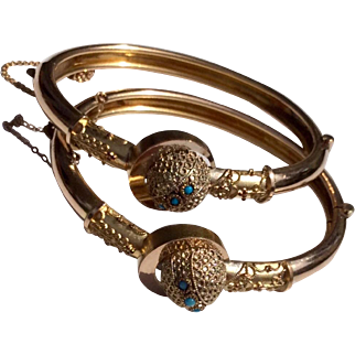 Pair Gold Filled Victorian Etruscan Revival Brides Bracelets