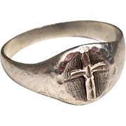 Vintage Sterling Silver Cross Ring