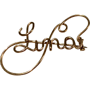 Vintage 1940'S Gold Filled Wire Name Pin