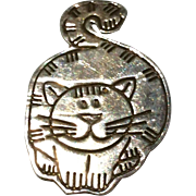 Vintage Sterling Silver Kitty Cat Brooch Mexico
