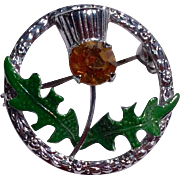 Vintage Scottish Amber Rhinestone Enameled Thistle Pin