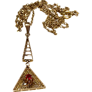 Antique 10 K Gold Ruby Lavalier