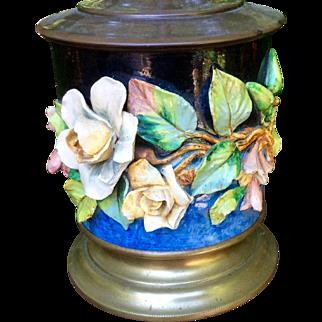 Antique Barbotine Majolica Floral 19th Century Lamp