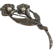 Vintage Sterling Silver Marcasite Faux Pearl Brooch