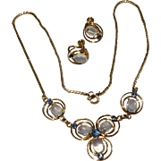 Vintage 12 K Gold Filled Van Dell Genuine Cabochon Moonstone Necklace & Earrings