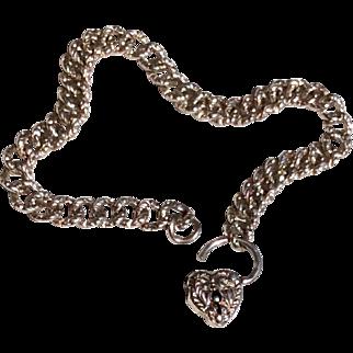 Vintage Sterling Silver Fancy Link  Repousse Heart Lock Charm Bracelet