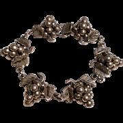 Vintage Sterling Silver Taxco Mexico Grape Bracelet