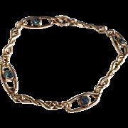 Vintage 12 K Gold Filled Flexible Link Blue Zircon Bracelet