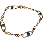 Vintage 12 K Gold Filled Flexible Link Blue Zircon Bracelet